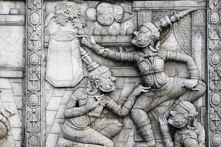 ramayana: Ramayana stucco sculpture in thailand