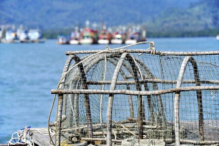 lobster pots: Fish trap Traditional Fishing in Thailand