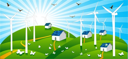 Wind power and solar cells power are energy clean and save Vector