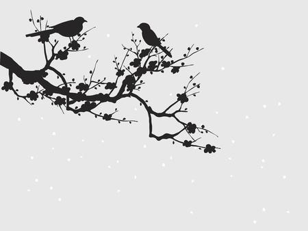 tatouage oiseau: Silhouette d'oiseaux sur Sakura floraison Illustration