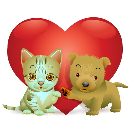 Puppies and kittens with spirit love Vector