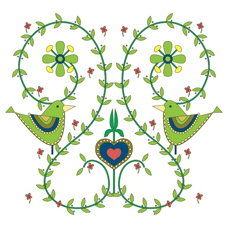 wedding wishes: Illustrations of Leaves, flowers,love birds card