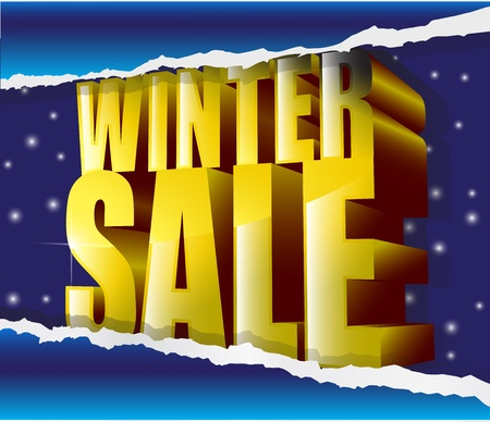 winter sale golden sign on snow background Vector