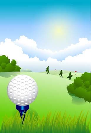 Golf ball on tee in a beautiful golf club Stock Vector - 13496660