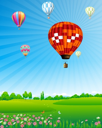 hot day: Hot air balloons floating over green field