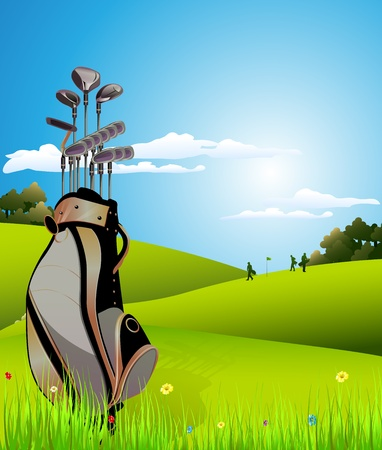 golf field: golf equipment on green and hole as background