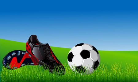 blue shoes: Closeup of soccer ball and black soccer shoes on fresh grass