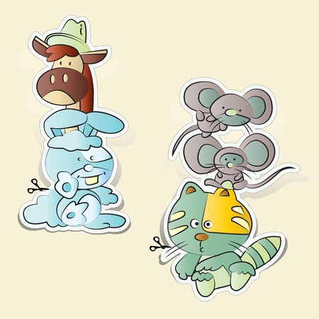 Rats, cats, rabbits, horses cartoons paper cut Vector