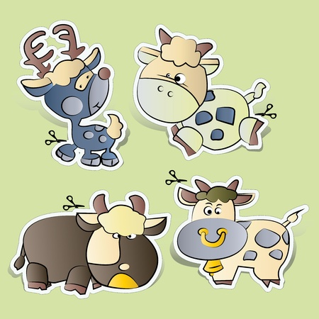 cartoons paper cut Farm animals set Stock Vector - 13496663