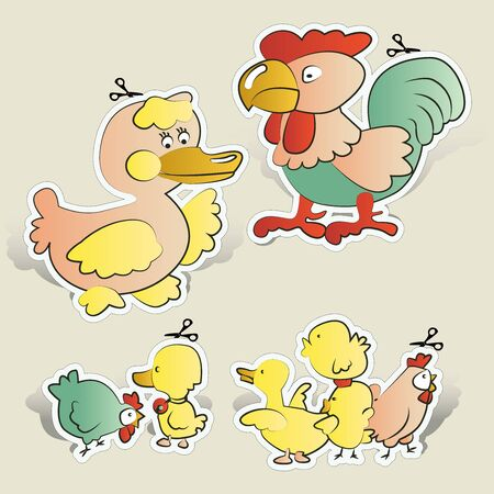 Chicken, duck cartoons paper cut Vector