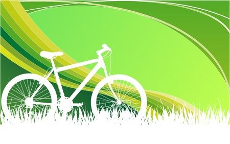 blanco con verde de bicicletas gráfica blackground Vectores