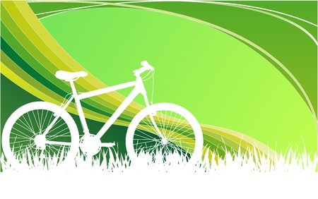 white Bike graphic with green blackground