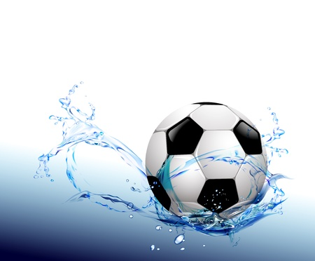 Water drops around soccer ball on blue background Stock Vector - 13496674