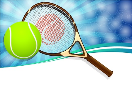 sporting activity: Tennis balls and racquet on blue background with copy space