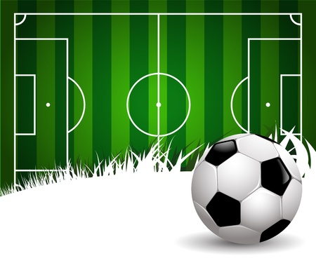 football kick: football field on white background with copy space Illustration