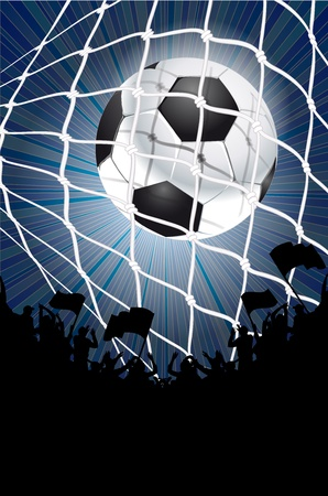 turf: Silhouettes of fans celebrating a goal on football ,soccer match Illustration