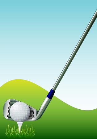 golfball: golf ball on course in front of driver