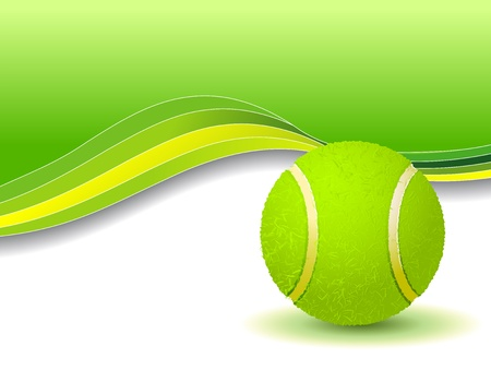 Tennis balls on green background with copy space Vector