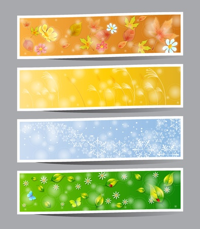 Set of seasons banners  summer, autumn, winter and spring Vector