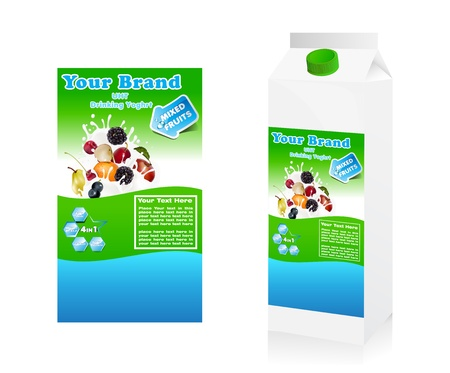 Label yogurt mixed with fruit with package Vector