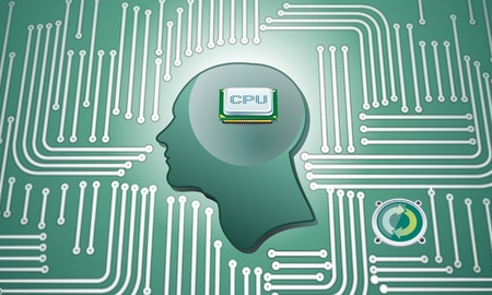 electronic scheme: CPU Chip in human head whit circuit background