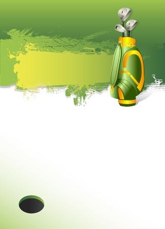 golfclub: golfuitrusting op groen en gat als achtergrond Stock Illustratie