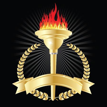 freedom logo: De la antorcha ol�mpica sobre fondo negro Vectores
