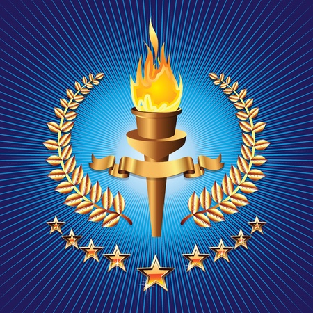 freedom logo: sports competition torch on blue background with star