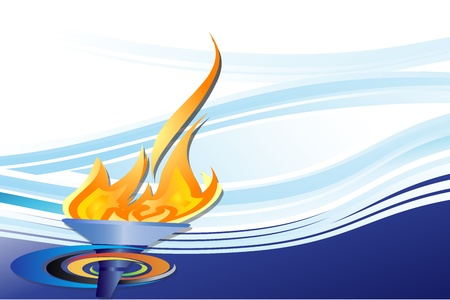 sports competition torch on blue background
