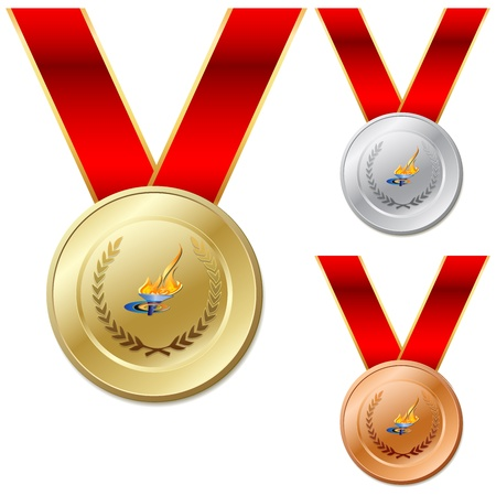 Set of gold silver bronze medals with ribbon white background Vector