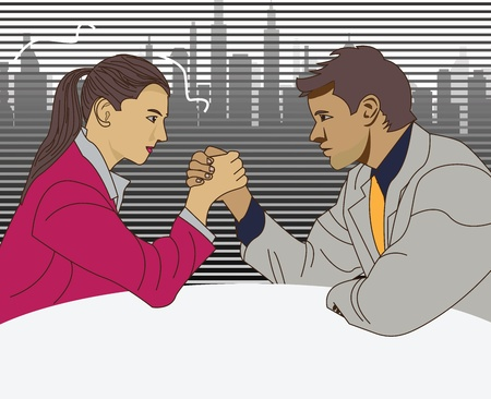 Young business people fighting in arm-wrestling
