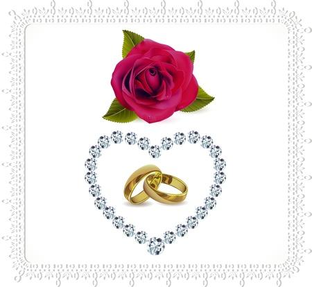 coeur diamant: anneaux et des roses avec le coeur de diamant