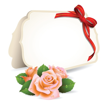 green bow: Blank invitation card and roses on background