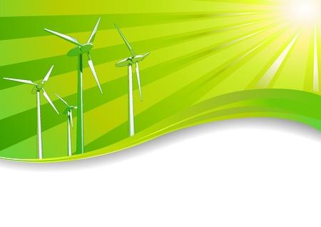 Ecologisch concept Hernieuwbare energie wind turbines achtergrond