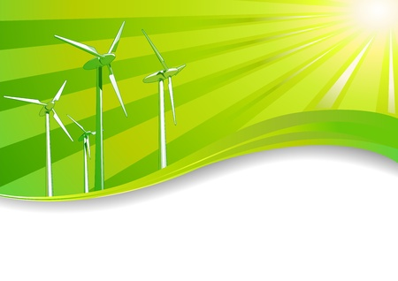 clean energy: Ecology concept Renewable energies wind turbines background Illustration