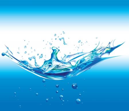 corriente de agua pura en el fondo blanco
