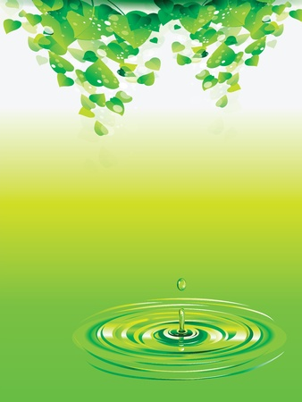 hot surface: Fresh green leaves above the water background Illustration