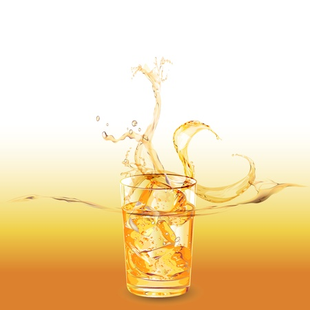 bourbon: glass of whiskey with ice cubes splashing out Illustration