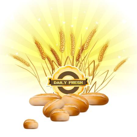 Bread and wheat on sunrise background Vector