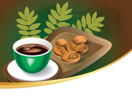 india food: cup of coffee with coffee beans background
