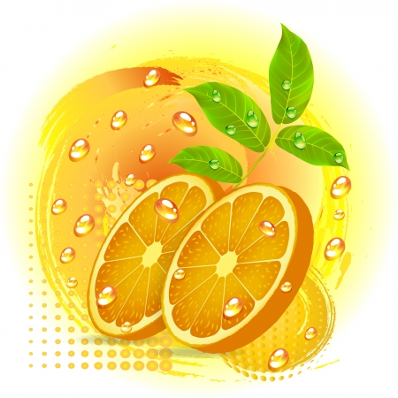 citric: Slices orange with leaf isolated on white background