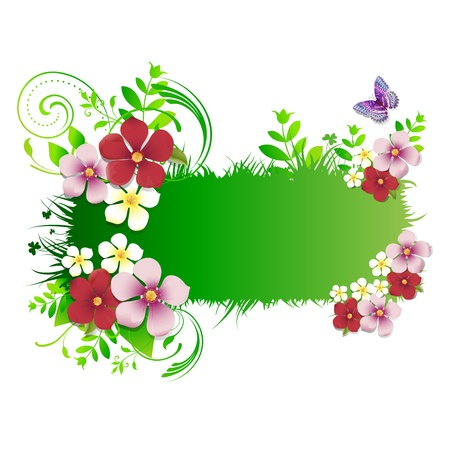 green background with flowers and butterflies