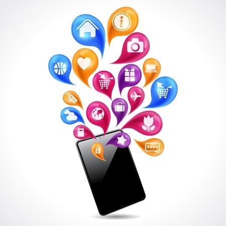 Las comunicaciones móviles y el concepto de redes sociales Ilustración de vector