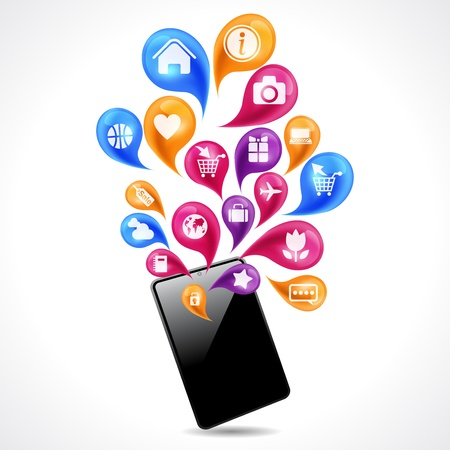 cellular telephone: Mobile communications and social networking concept  Illustration