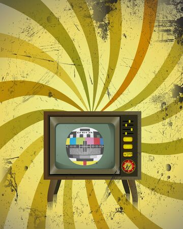 vintage television: Old Retro TV with colorful background