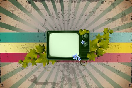 vintage television: Old Retro TV and Leaves with colorful background