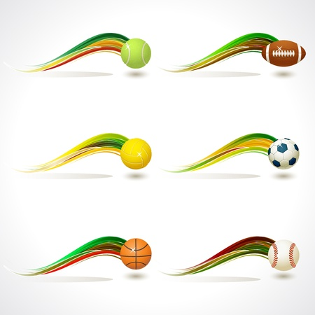 Set of Sports equipment with colorful rainbow curve Vector