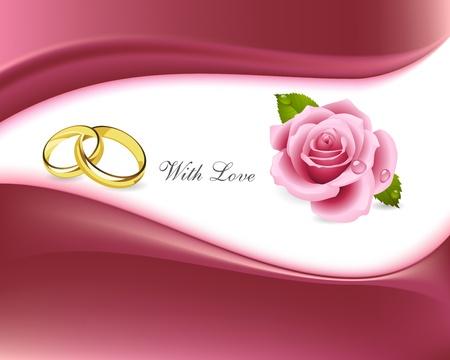 anneaux et des roses sur fond d'amour