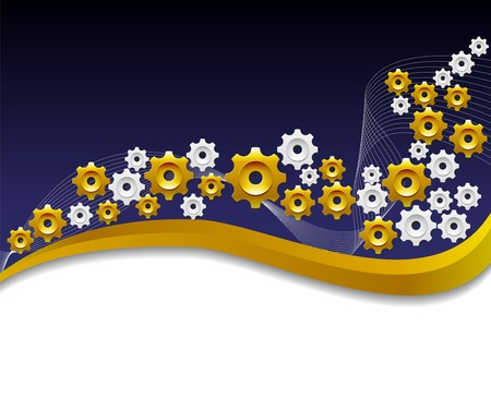 Background with the gold gears Vector