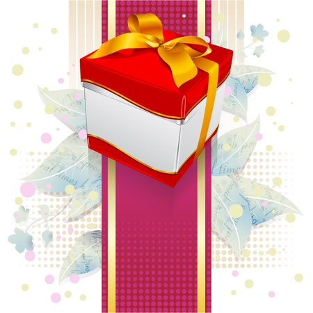 gift box on leaves and colorful background Stock Vector - 13717342